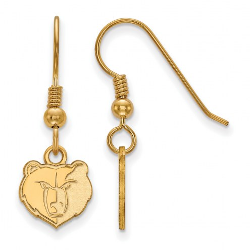 Memphis Grizzlies Sterling Silver Gold Plated Extra Small Wire Dangle Earrings