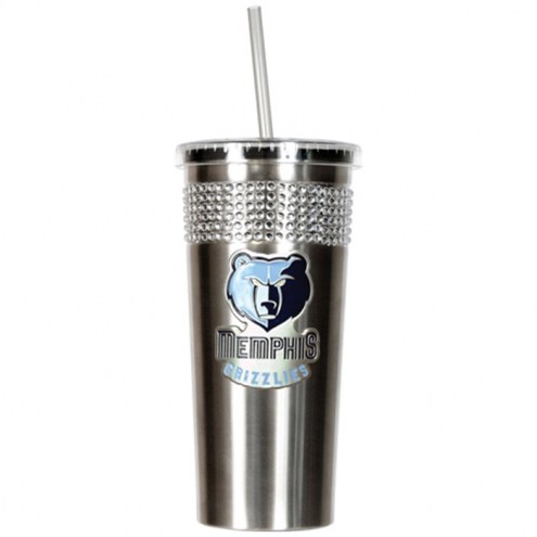 Memphis Grizzlies Stainless Steel Bling Tumbler with Straw