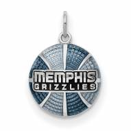 Memphis Grizzlies Sterling Silver Enameled Basketball Pendant