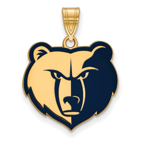 Memphis Grizzlies Sterling Silver Gold Plated Large Enameled Pendant