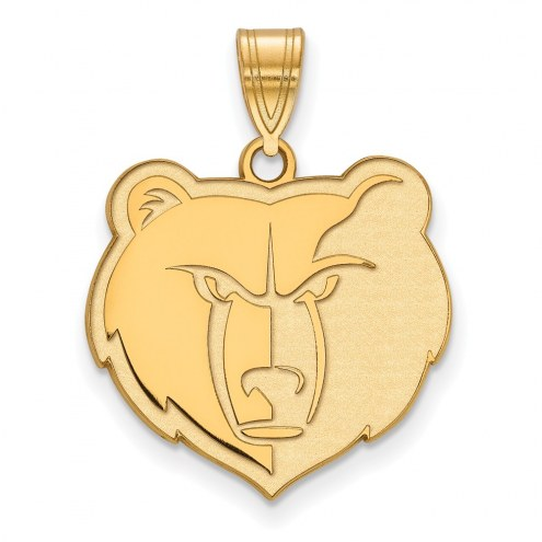 Memphis Grizzlies Sterling Silver Gold Plated Large Pendant