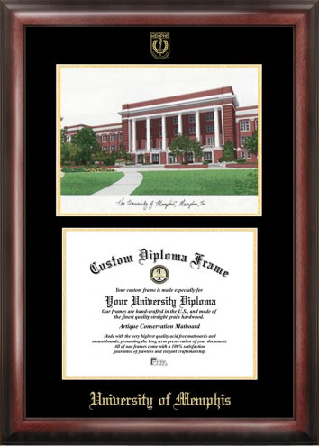 Memphis Tigers Gold Embossed Diploma Frame with Lithograph