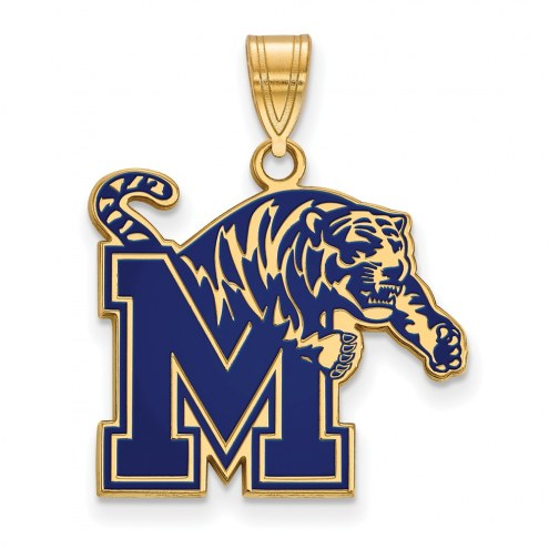 Memphis Tigers NCAA Sterling Silver Gold Plated Large Enameled Pendant