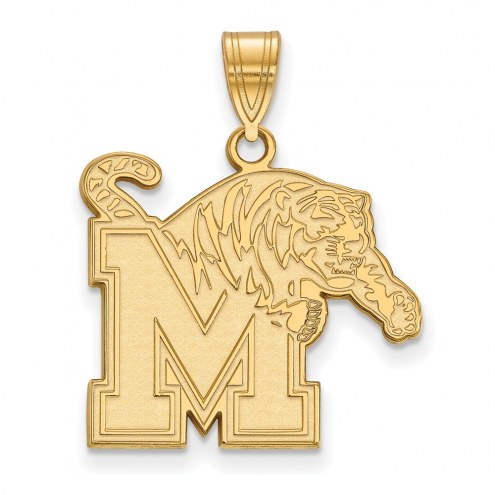 Memphis Tigers NCAA Sterling Silver Gold Plated Large Pendant