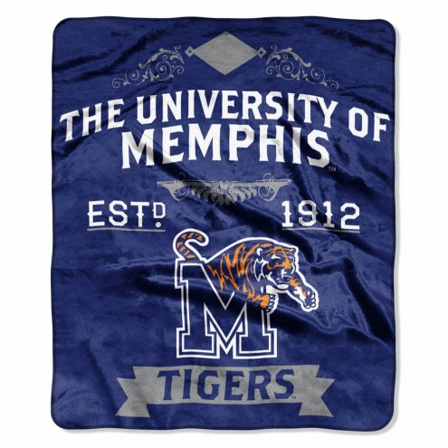 Memphis Tigers Label Raschel Throw Blanket