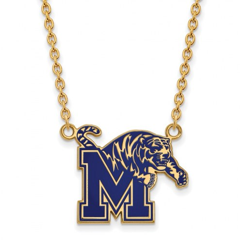 Memphis Tigers Sterling Silver Gold Plated Large Enameled Pendant Necklace
