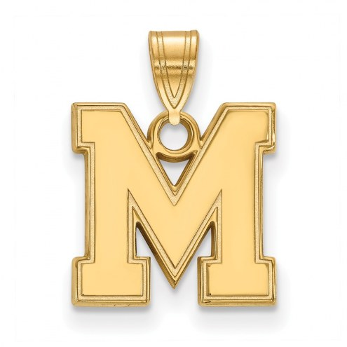 Memphis Tigers Sterling Silver Gold Plated Small Pendant
