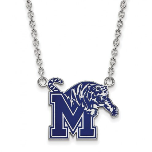 Memphis Tigers Sterling Silver Large Enameled Pendant Necklace