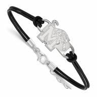 Memphis Tigers Sterling Silver Black Leather Bracelet