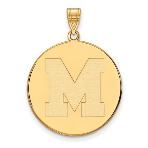 Memphis Tigers Sterling Silver Gold Plated Extra Large Disc Pendant