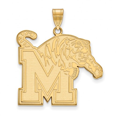 Memphis Tigers Sterling Silver Gold Plated Extra Large Pendant