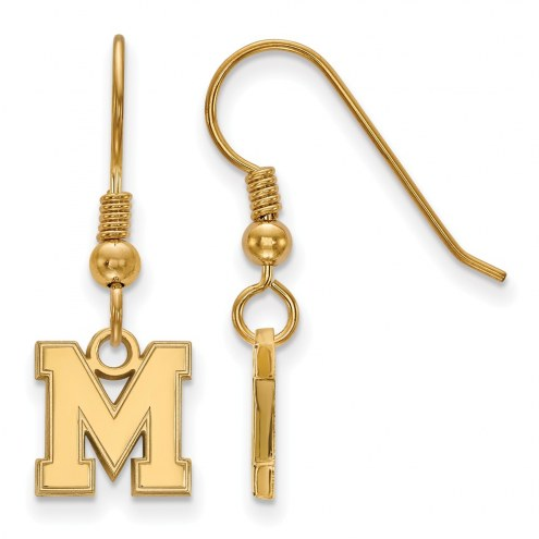 Memphis Tigers Sterling Silver Gold Plated Extra Small Dangle Earrings