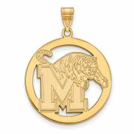 Memphis Tigers Sterling Silver Gold Plated Large Circle Pendant