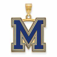 Memphis Tigers Sterling Silver Gold Plated Large Enameled Pendant