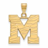 Memphis Tigers Sterling Silver Gold Plated Large Pendant