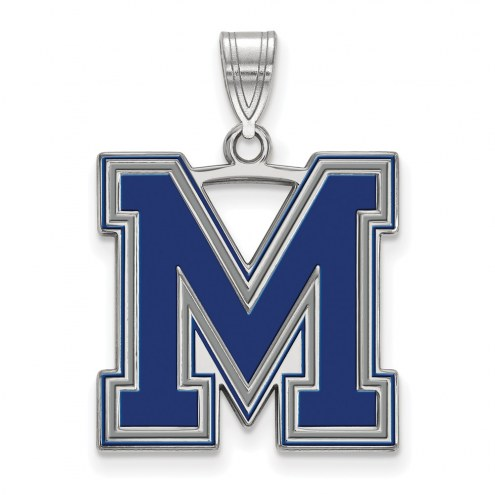 Memphis Tigers Sterling Silver Large Enameled Pendant