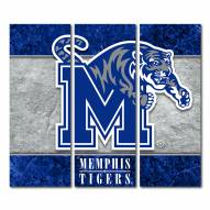 Memphis Tigers Triptych Double Border Canvas Wall Art
