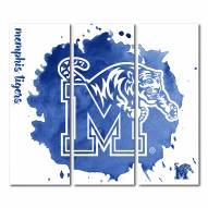 Memphis Tigers Triptych Watercolor Canvas Wall Art