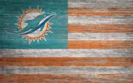 """Miami Dolphins 11"""" x 19"""" Distressed Flag Sign"""