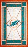 """Miami Dolphins 11"""" x 19"""" Stained Glass Sign"""