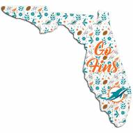 """Miami Dolphins 12"""" Floral State Sign"""