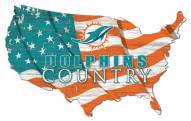 "Miami Dolphins 15"" USA Flag Cutout Sign"