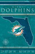 "Miami Dolphins 17"" x 26"" Coordinates Sign"