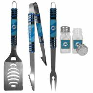 Miami Dolphins 3 Piece Tailgater BBQ Set and Salt and Pepper Shakers