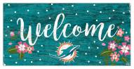 """Miami Dolphins 6"""" x 12"""" Floral Welcome Sign"""