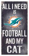"""Miami Dolphins 6"""" x 12"""" Football & My Cat Sign"""