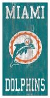 "Miami Dolphins 6"" x 12"" Heritage Logo Sign"