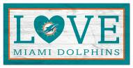 """Miami Dolphins 6"""" x 12"""" Love Sign"""