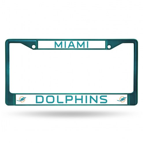 Miami Dolphins Aqua Colored Chrome License Plate Frame