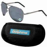 Miami Dolphins Aviator Sunglasses and Zippered Carrying Case