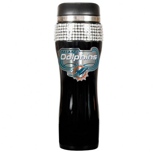 Miami Dolphins Black Stainless Steel Bling Travel Tumbler