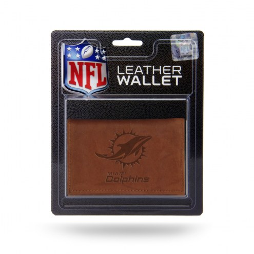 Miami Dolphins Brown Leather Trifold Wallet