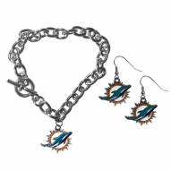 Miami Dolphins Chain Bracelet & Dangle Earring Set