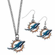 Miami Dolphins Dangle Earrings & Chain Necklace Set