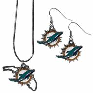 Miami Dolphins Dangle Earrings & State Necklace Set
