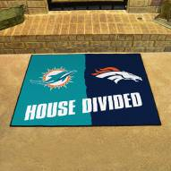 Miami Dolphins/Denver Broncos House Divided Mat
