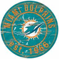 Miami Dolphins Distressed Round Sign