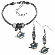 Miami Dolphins Euro Bead Earrings & Bracelet Set