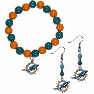 Miami Dolphins Fan Bead Earrings & Bracelet Set