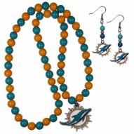Miami Dolphins Fan Bead Earrings & Necklace Set