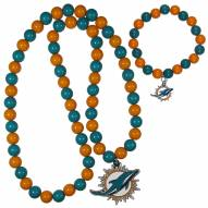 Miami Dolphins Fan Bead Necklace & Bracelet Set