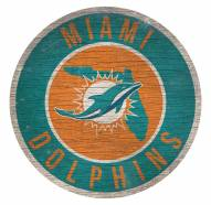 Miami Dolphins Round State Wood Sign