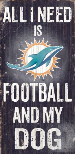 Miami Dolphins Football & Dog Wood Sign