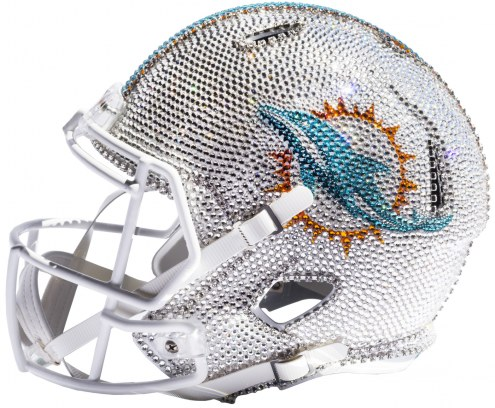 Miami Dolphins Full Size Swarovski Crystal Football Helmet