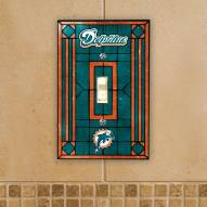 Miami Dolphins Glass Single Light Switch Plate Cover