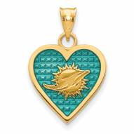 Miami Dolphins Gold Plated Enameled Heart Pendant